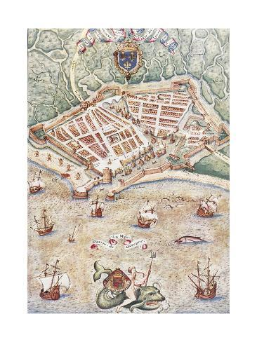 Map Of The City Of Le Havre France 1583 Giclee Print Allposters