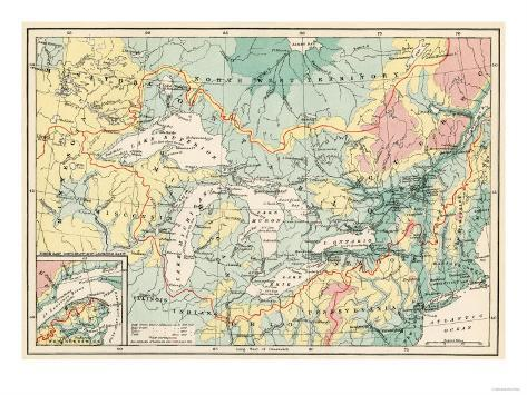 Map of the Great Lakes and the St. Lawrence Watershed Giclee Print
