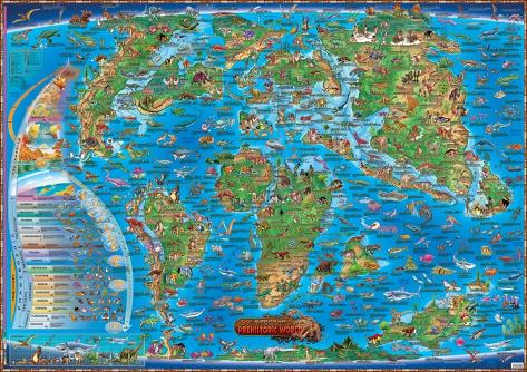 Map of the prehistoric world laminated educational poster posters map of the prehistoric world laminated educational poster laminated poster gumiabroncs Images