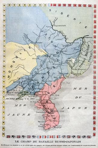 Map of the Russo-Japanese War, 1904 Giclee Print