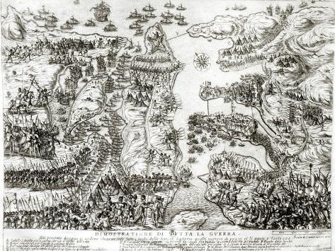 Map of the Siege of Malta in 1565 Impressão giclée