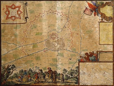 Map of the Siege of Vigevano of 1645, with Plan of City and Castle Giclee Print