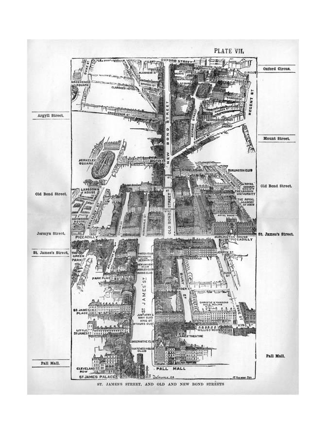 4a805b4a4c0 Map of the St. James's and Bond Street Areas of London Giclee Print at  AllPosters.com