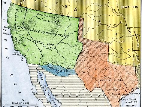 Map Of The Territory Ceded By Mexico To The US After The Mexican - Map of the us in 1853