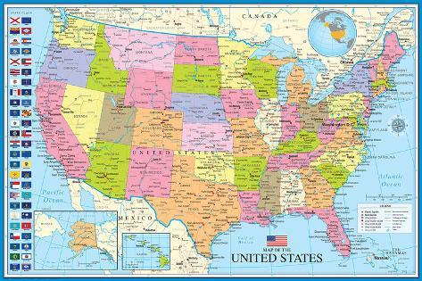 Map Of The United States With State Flags Prints at AllPosters.com