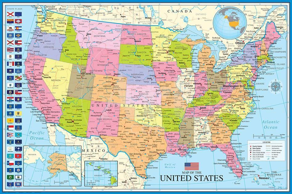 Of The United States Map.Map Of The United States With State Flags