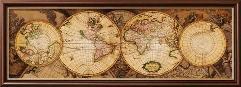 Map of the World: Nova Totius Terrarum Orbis Framed Art Print