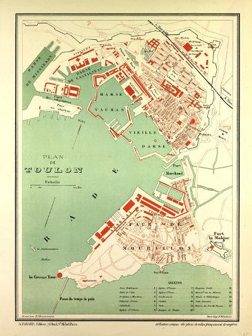 Map of Toulon France Giclee Print AllPosterscouk