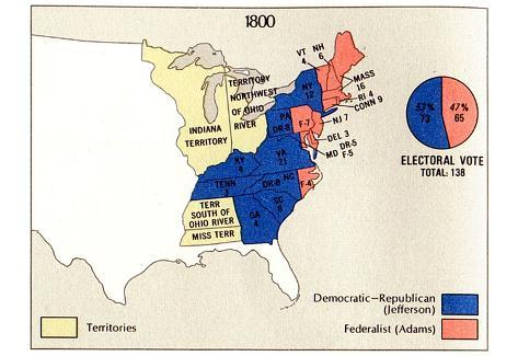 Map of United States (Presidential Election, 1800) Art Poster Print Poster