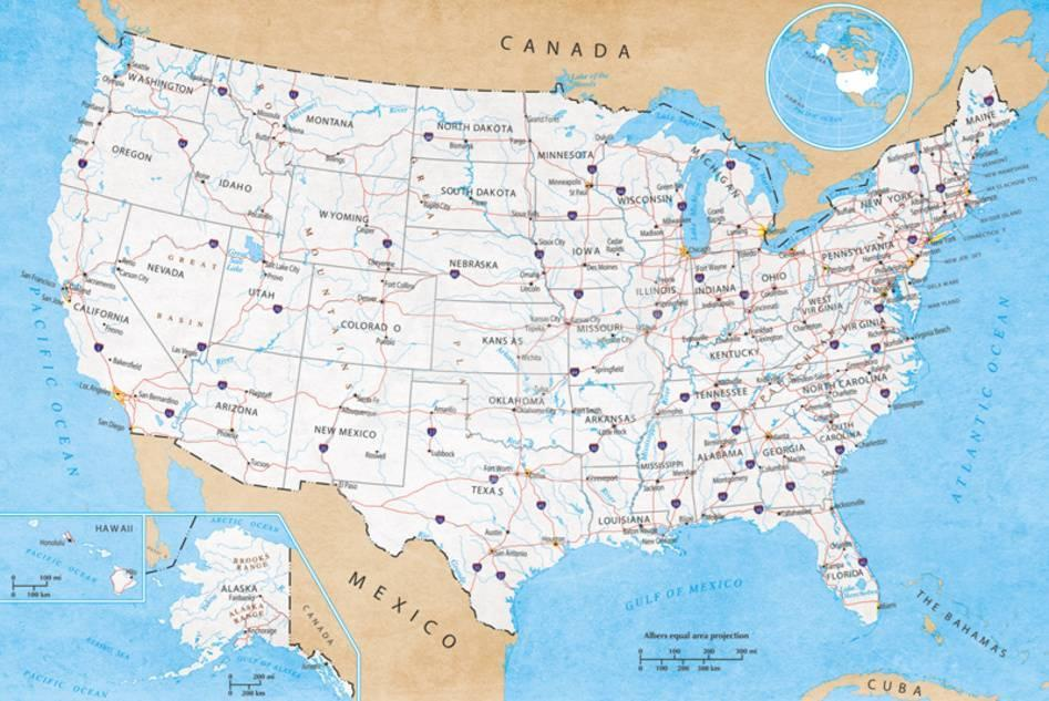 Map Of USA- Road Map Prints at AllPosters.com Road Maps Of Usa on