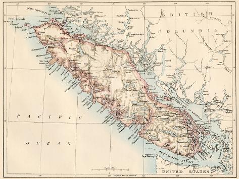 Map Of Vancouver Island British Columbia Canada S Giclee - British columbia canada map