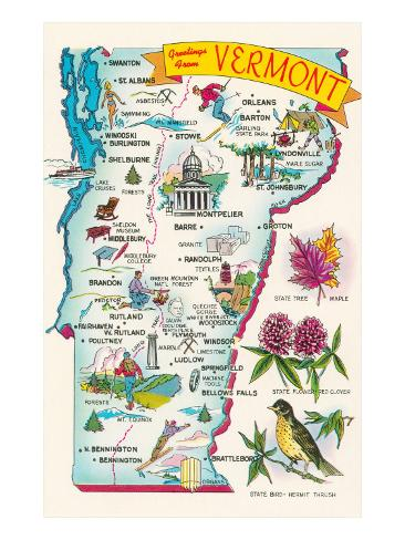 Map of Vermont Art Print
