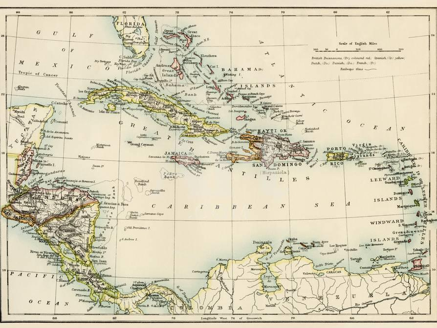 Map of West Indies and the Caribbean Sea, 1800s Giclee Print at ...