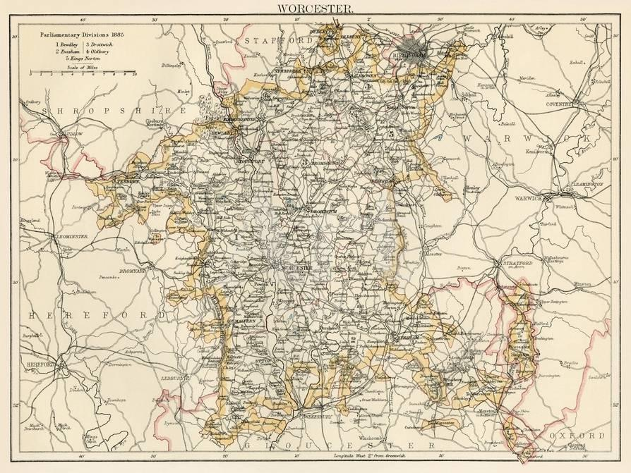 Map Of Worcestershire England 1870s Giclee Print At Allposters Com