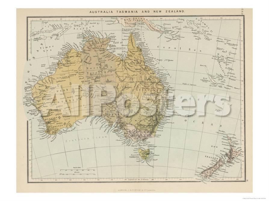 Map Of New Zealand Australia.Map Showing Australia Tasmania New Zealand And Neighbouring Islands