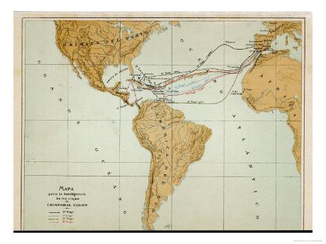 Map Showing the Four Voyages Taken by Columbus Giclee Print