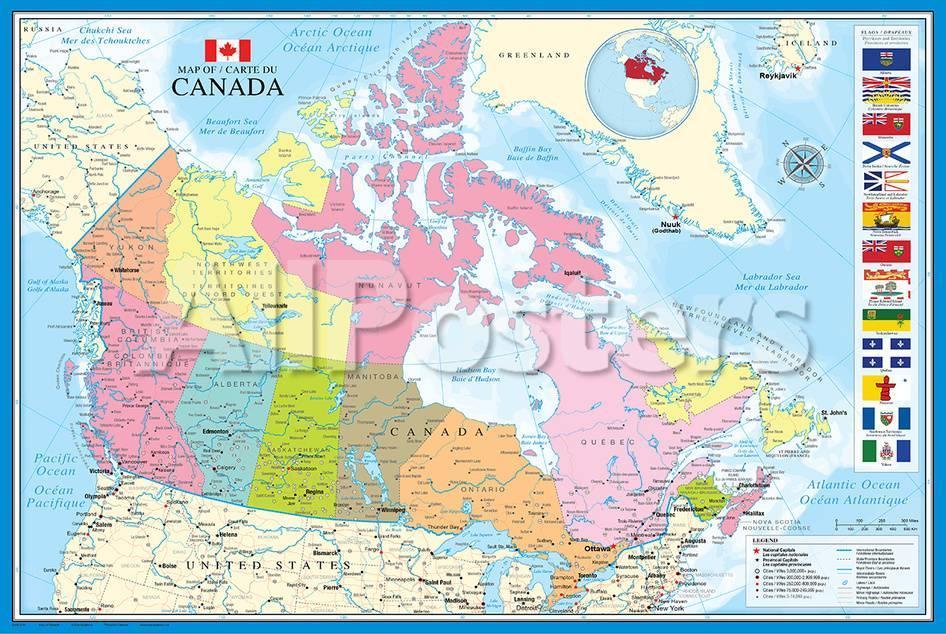 Mapa de Canada Láminas en AllPosters.es