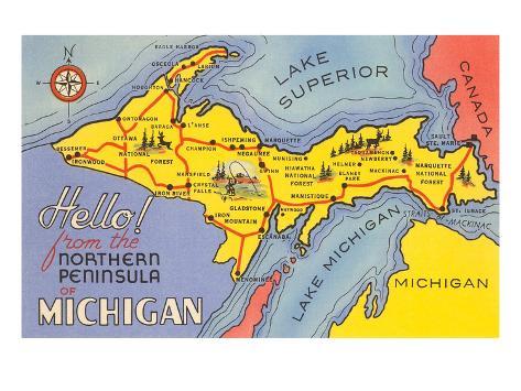 Mapa De La Peninsula Superior Michigan Láminas En AllPosterses - Mapa de michigan
