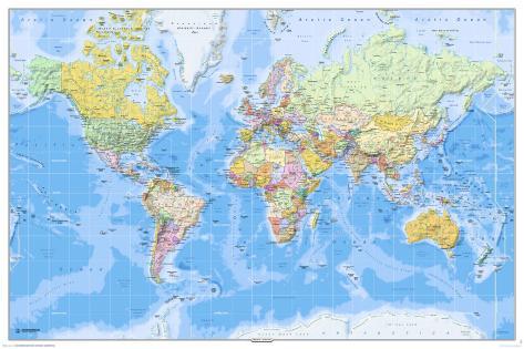Mapa del mundo 2011 en ingl s p sters en for Carta da parati cartina geografica