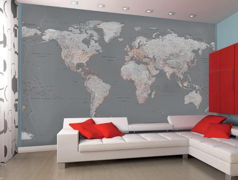 Mapa del mundo contempor nea en tono gris mural de papel - El mundo del papel pintado ...
