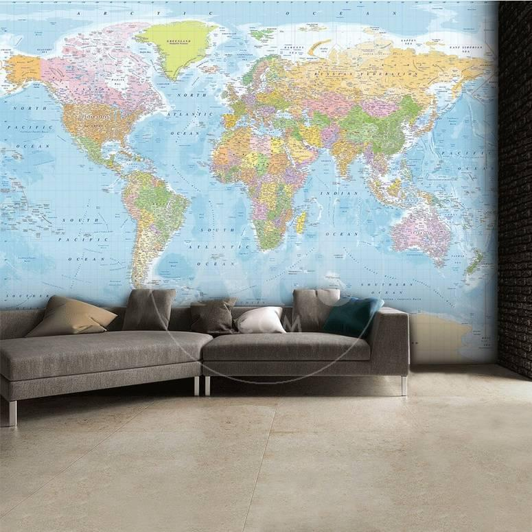 Mapa del mundo - Mural de papel pintado Mural de papel pintado en ...