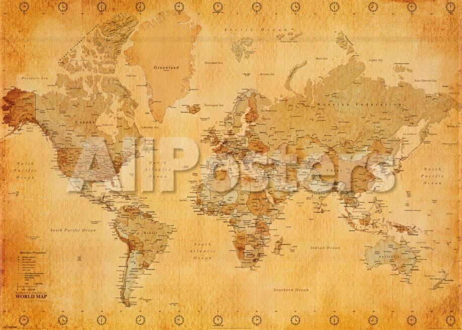 Mapa del mundo Pósters en AllPosters.es