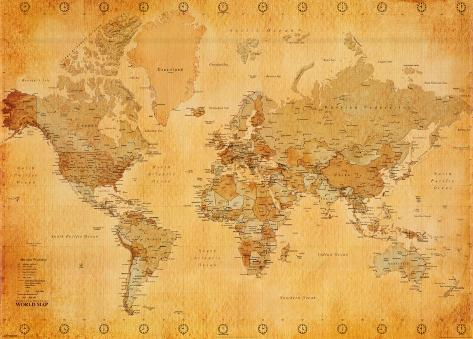 Mapa-múndi, vintage  Pôster gigante