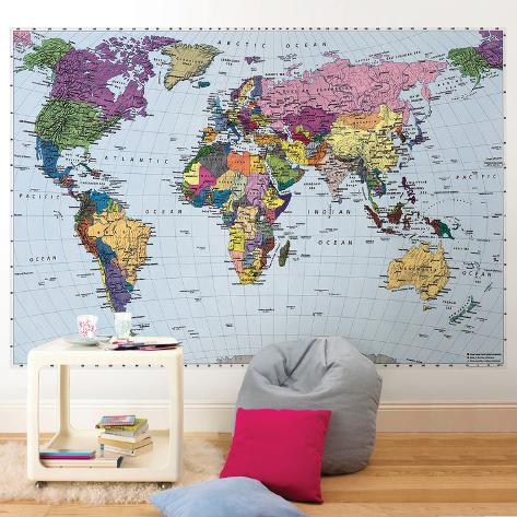 Mapa m ndi mural de papel de parede na - Mural mapa mundi ...