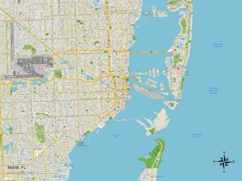 mapa de miami florida Mapa política de Miami, FL Láminas en AllPosters.es mapa de miami florida