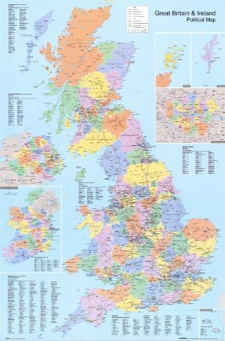 Mapa político do Reino Unido Pôster