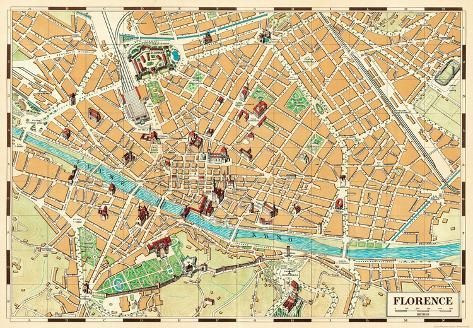 Mappa Di Firenze (Map Of Florence)   Vintage Style Italian Map Poster