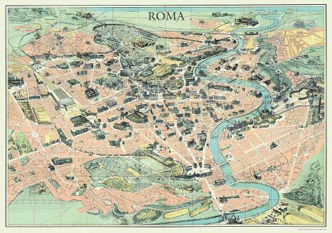 Mappa di roma map of rome vintage style italian map for Colosseo da colorare