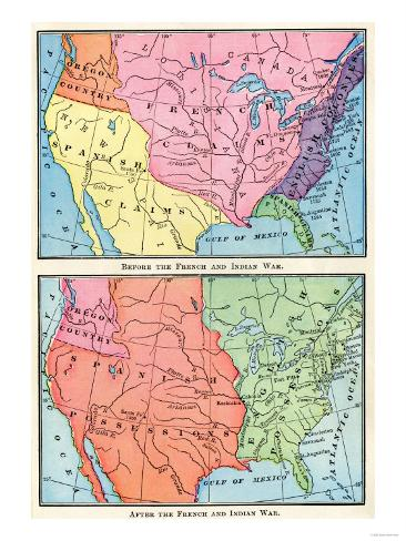 Maps of North American Colonies Before and after the French and Indian War, c.1700 Giclee Print