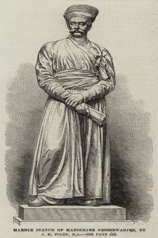 Marble Statue of Manockjee Nesserwanjee, by J H Foley, Ra Giclee Print