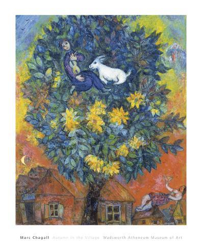 """22W/""""x27H/"""" AUTUMN IN THE VILLAGE by MARC CHAGALL COLORFUL TOWN TREE HOME CANVAS"""