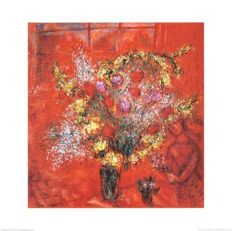 Fleurs Sur Fond Rouge, c.1970 Art Print