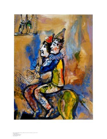 Two Clowns on a Horse-Back Art Print