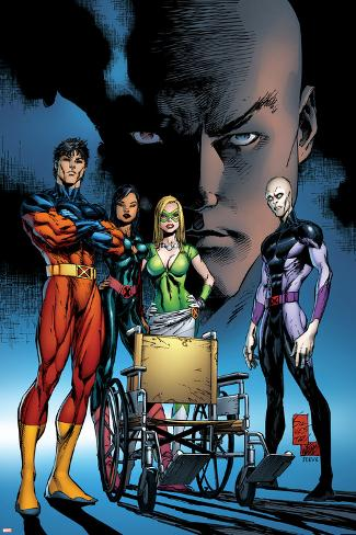 X-Men: Deadly Genesis No.4 Cover: Professor X and Vulcan Fighting Poster