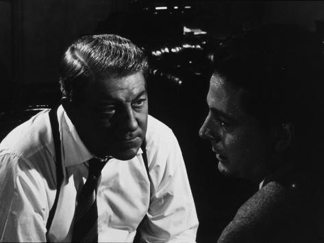 Jean Gabin and Jean Desailly: Maigret Tend Un Piège, 1958 Photographic Print