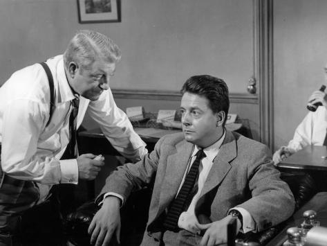 Jean Gabin and Jean Desailly: Maigret Tend Un Piège, 1958 Photographic Print
