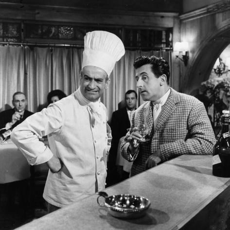 Jean Lefebvre and Louis de Funès: Le Gentleman D'Epsom, 1962 Photographic Print