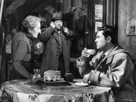Robert Hirsch, Jean Gabin and Gabrielle Fontan: Maigret et L'Affaire Saint Fiacre, 1959 Photographic Print