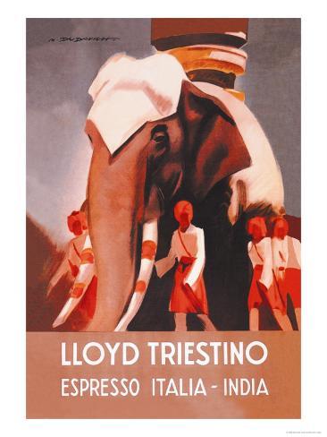 Lloyd Triestino Espresso Itali India Art Print