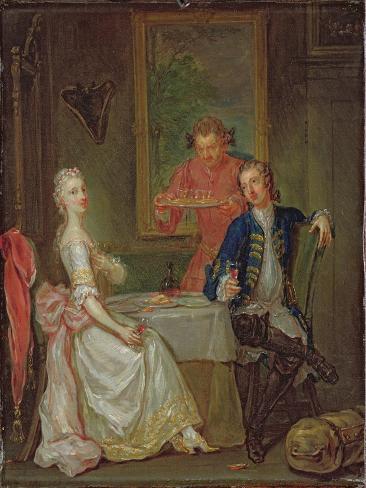 A Dinner Conversation (A Man and Woman Drinking at Supper) Lámina giclée
