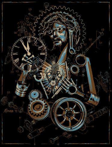 Industrial Christ Reproducción de lámina sobre lienzo