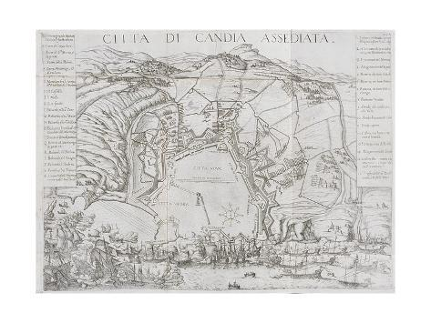 Plan of Candia Illustrating the Beginning of the Cretan War in 1645, 1651 Stretched Canvas Print