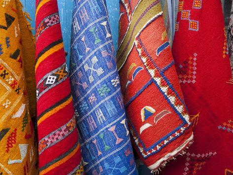 Carpets, Chefchaouen, Morocco, North Africa, Africa Photographic Print