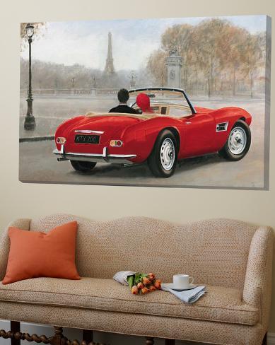 A Ride in Paris III Red Car Loft Art