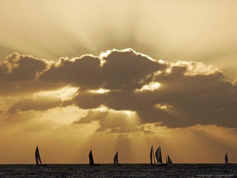 Sunset Sail, Honolulu, Hawaii Photographic Print