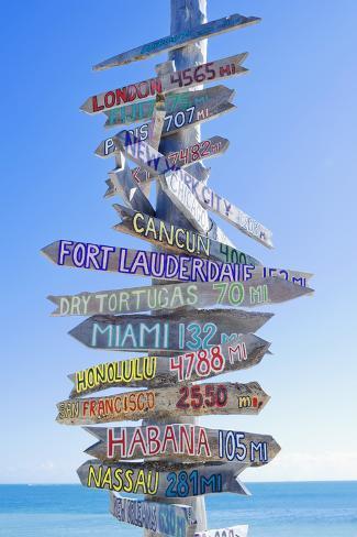 Directions Signpost Near Seaside, Key West, Florida, Usa Lámina fotográfica